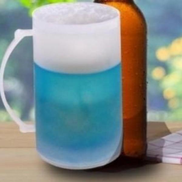 Halba de bere cu pereti dubli care ingheata - set 2 bucati