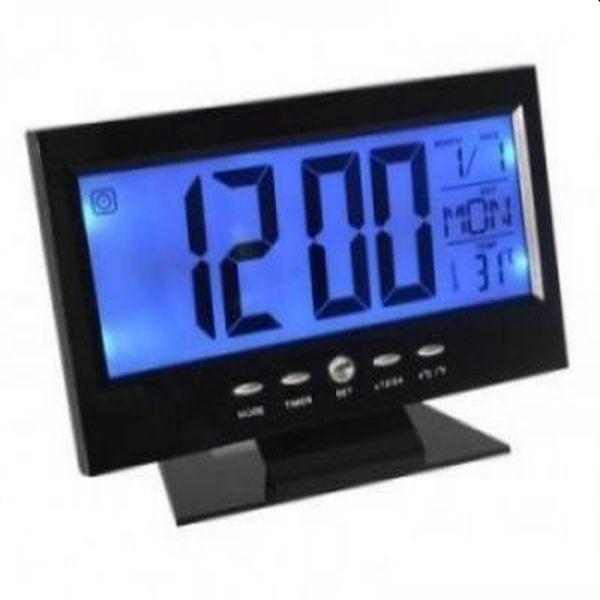 Ceas electronic digital cu  senzor acustic, afiseaza temperatura si ora pe glob