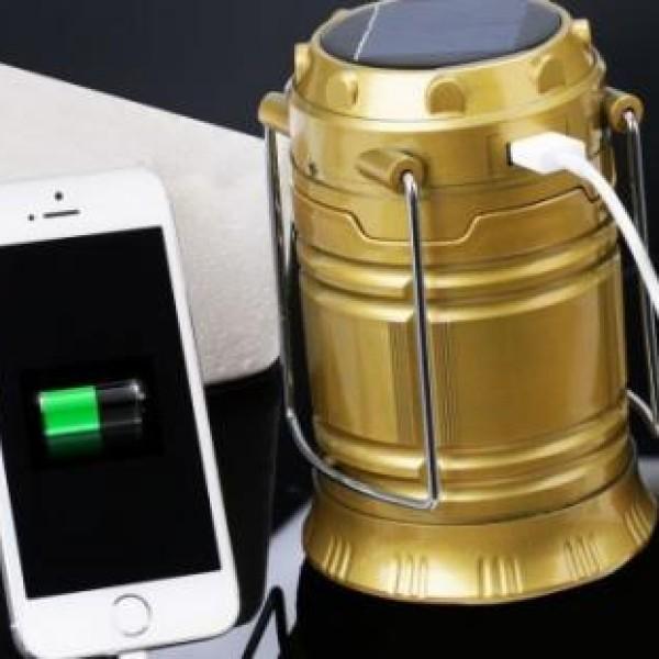 Felinar solar cu led ideal pentru camping, cu mufa USB pentru incarcare telefon