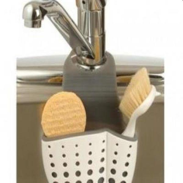 Suport bucatarie pentru burete, laveta sau perii, din plastic flexibil, se ataseaza la robinet
