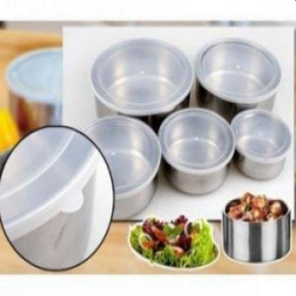 Set de 5 caserole alimentare, metalice, cu capac transparent, marimi diferite