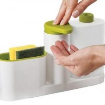 Dozator de bucatarie pentru detergent vase, sapun lichid si suport bureti