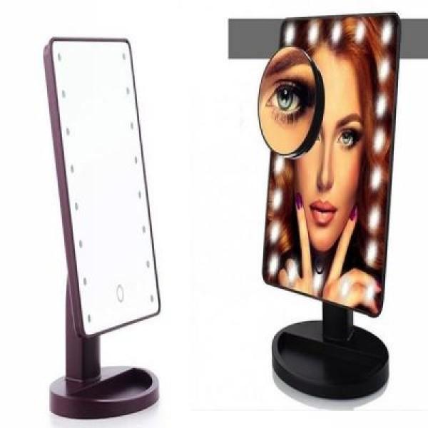 Oglinda cosmetica cu 16 led-uri pentru machiaj profesionist, cu rotatie 360 grade