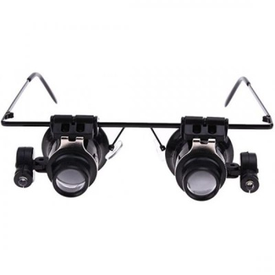 Lupa-ochelari marire 20x, cu LED de iluminare, usor de purtat pe cap