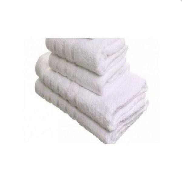 Prosoape albe, tip hotel, bumbac Pakistan gros si absorbant, set 4 bucati