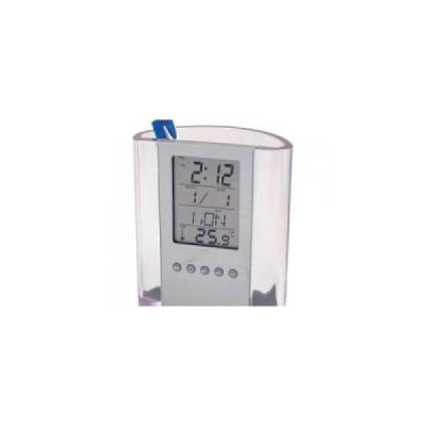 Organizator de pixuri si stilouri cu ceas electronic si afisarea temperaturii
