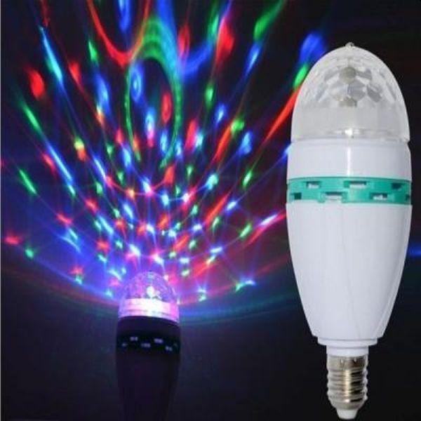 Bec led rotativ efect disco, cu forme multicolore