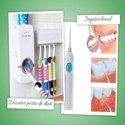 Dozator automat pasta de dinti , suport  de 5 periute si irigator bucal, pentru dinti sanatosi