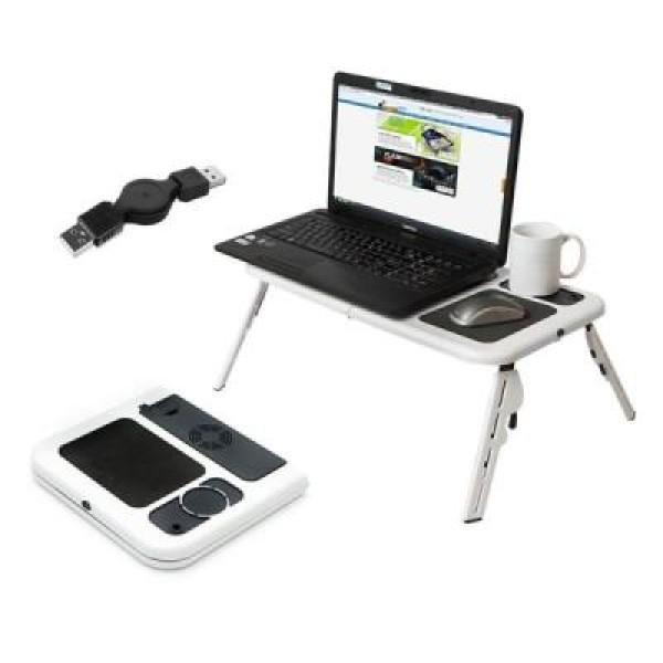 Masuta laptop e-table cu ventilatoare si mufa USB, rabatabila