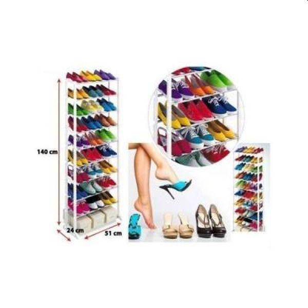 Suport de pantofi, inalt, din metal rezistent, pentru 30 de perechi