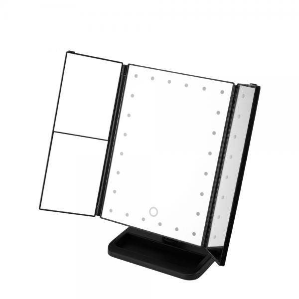 Oglinda cosmetica extensibila cu LED si buton tactil