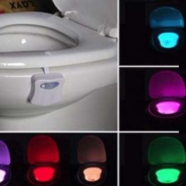 Lampa de veghe pentru toaleta cu LED, senzor de miscare si lumina, 8 culori diferite