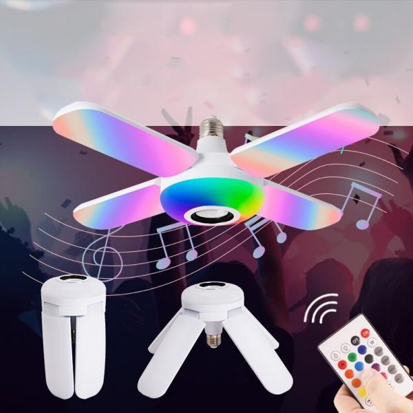 Bec cu 4 brate, lumina multicolora, functie muzicala prin bluetooth, telecomanda inclusa