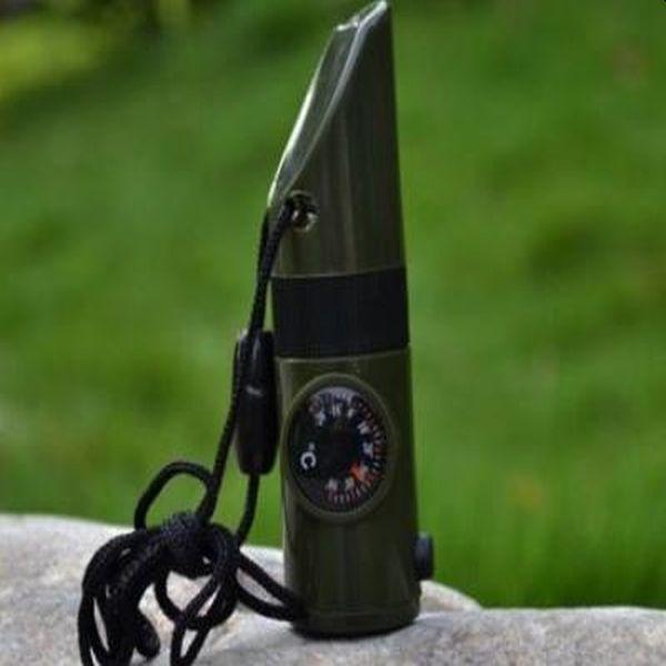 Kit de supravietuire de buzunar: termometru, fluier, lanterna, busola