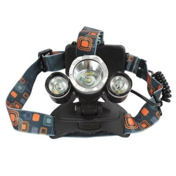 Lanterna de cap cu 3 led-uri, waterproof, cu lumina foarte puternica si baterie proprie